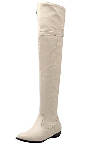 Unbekannt Oberschenkel Stiefel Damen Bequem Schnalle Herbst Winter Flach Overknee Stiefel von Bigtree Beige 42 EU