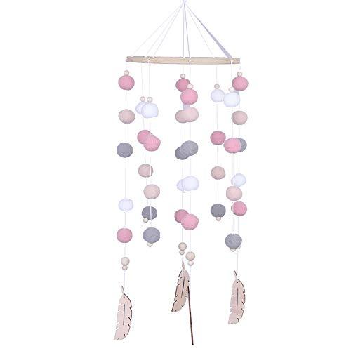 Babybett Mobile Filzball Mobile Hairball Windspiele Bettglocke Spielzeug Hängende Ornamente(Rosa)