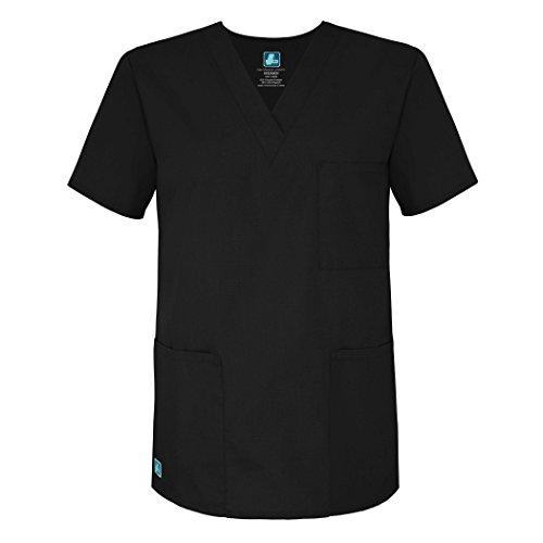 Adar Uniforms Medizinische Uniformen Unisex Top Krankenschwester Krankenhaus Berufskleidung - 601 - Black - 2X