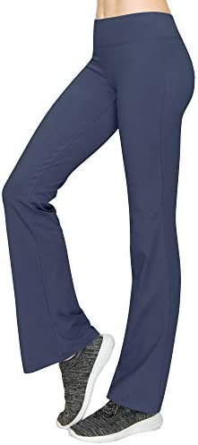 Lock and Love WB961 Womens Slim Fit Bootleg Yoga Pants M Ash Blue product image