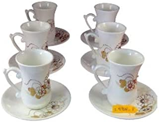 Istikana Porcelain Turkish Middle Eastern Small Tea Cups Set of 6 (White Daisy)