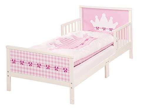 roba 20332 Themenbett 'Krone', Kinderbett inklusive Matratze, Bettwäsche & Lattenrost für Mädchen, rosa