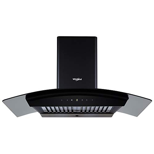 Whirlpool 90 cm 1100 m³/HR Auto-Clean Curved Glass Kitchen Chimney (CG 901 HAC HOOD, Baffle Filter, Touch Control, Black)