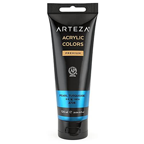 Arteza metallic Acrylfarbe, Pearl Türkis A226, Acrylfarben in 120 ml Beutel, lichtbeständige hochpigmentierte Künstlerfarbe für Acrylmalerei, Leinwand-Malfarbe für Künstler, Hobbymaler, Kinder