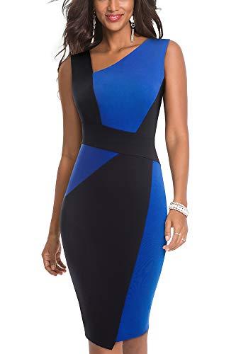 HOMEYEE Dames Vintage Contrast Kleur Uitrekken Zakelijke Jurken B517 (L, Blauw + Zwart)