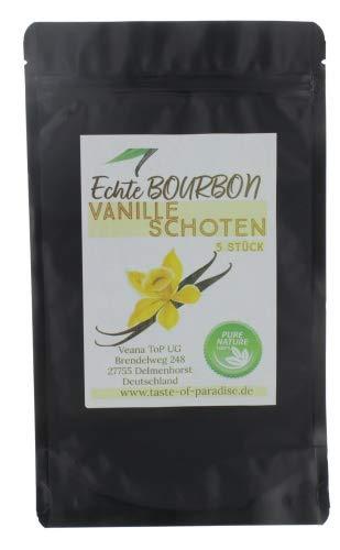 Bourbon Vanilleschoten (5 Stk. - 12-13cm) 100% natural aus Madagascar, frisch & saftig, hoher Vanillegehalt, Top Gourmet Vanille