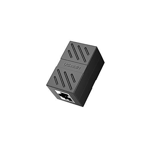 UGREEN Adaptador RJ45 Hembra a Hembra, Conector RJ45 Hembra a Hembra Acoplador RJ45 para Gigabit Ethernet 1000Mbps Cable de Red Cat 7 Cat 6 Cat 5, 1 Unidad (Negro)
