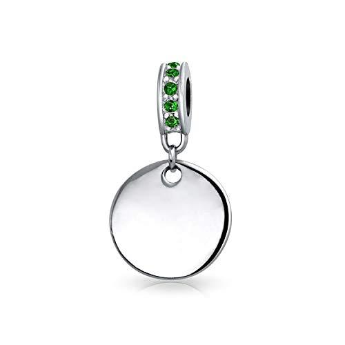 Personalizado grabado inicial monograma simulado esmeralda verde cristal acento balear redondo círculo disco forma colgante encanto .925 plata de ley para mujeres pulsera europea personalizable