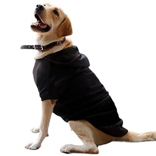 Eastlion Ropa Perro Grande,Cálido Sudadera con Capucha para Perros Algodón Suéter Chaqueta Abrigo Costume Pullover para Mascota Perro Gato (Negro,6XL)