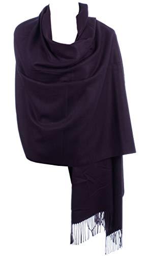 BYOS Versatile Oversized Soft Cashmere Shawl Scarf Travel Wrap Blanket W/ Tassels, Many Colors (Eggplant Purple)