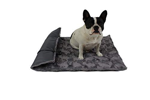 HS-Hundebett Outdoor-Hundedecke in 3 Größen I Qualität Made in Germany - robust & wasserundurchlässig I waschbar bei 40° - mit 3 cm Vlies-Füllung I Reise-Hunde-Decke (65 x 95 cm, Anthrazit)