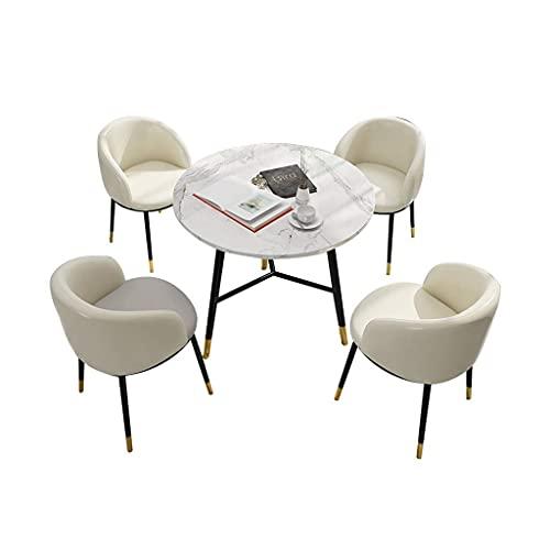 Krzesło kombinowane Kuchnia Krzesła do jadalni, sala konferencyjna w hotelu Metalowe nóżki Mały okrągły stół i skórzane krzesło Połączenie 5-częściowy (kolor: biały)