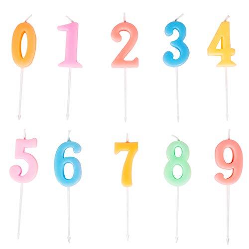 Yue Qin 10 Pcs Velas de Números Velas De Cumpleaños, Velas de Pastel de Cumpleaños Velas de Feliz Cumpleaños para Suministros de Celebración de Aniversario Boda Cumpleaños(Número 0-9)