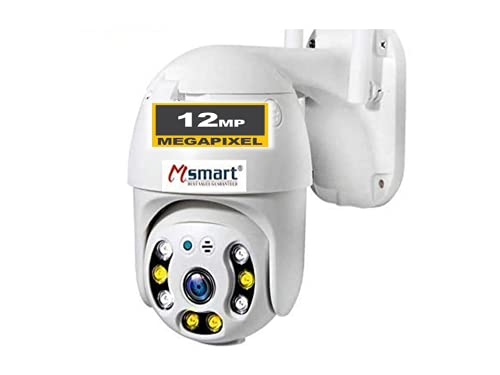 Machsmart 12MP HD Wireless WiFi Outdoor PTZ Security Camera with Full-Color Night Vision Two-Way Audio Cloud Storage ALART SIRAN Motion Detection Available _ White