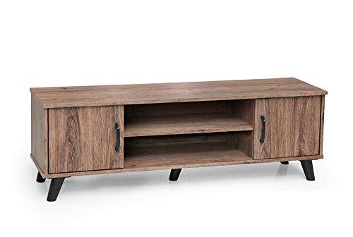 Vetrineinrete® Mobile basso moderno per soggiorno in legno MDF parete attrezzata porta tv con ante due ripiani 120x33x40 cm (Legno Noce) 796760 P10