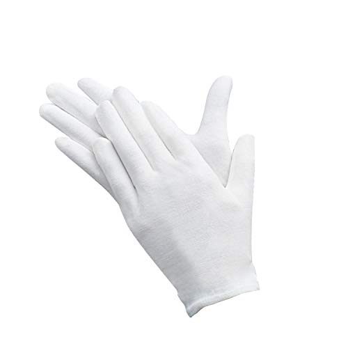 12 paia Guanti di Cotone Bianco, Guanti in Cotone di Cura,Cotton Gloves Elastico, Comodi e Traspiranti, per la cura della pelle, esaminando gioielli, lavoro quotidiano, ecc.