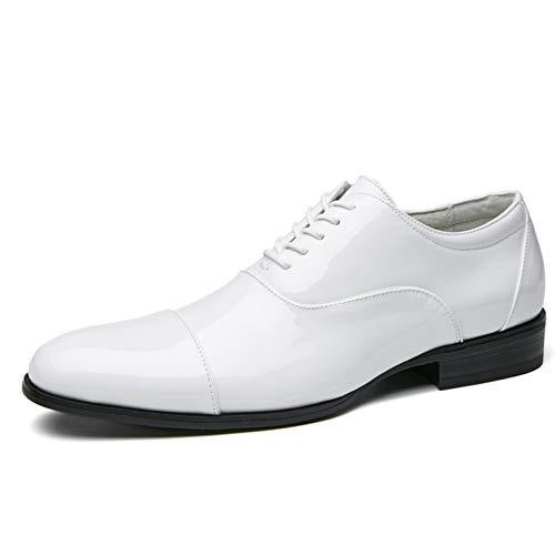 Zapatos de Vestir para Hombres Patchwork Zapatos de Charol Blanco Zapatos Oxford...