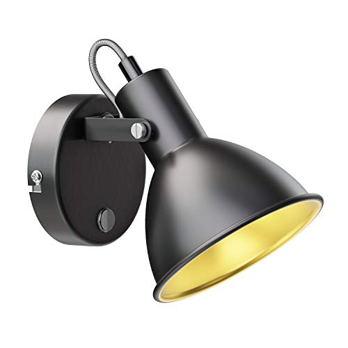 ledscom.de Lámpara de pared, lámpara de lectura RISIE14, una sola llama, con interruptor, oro negro, metal.