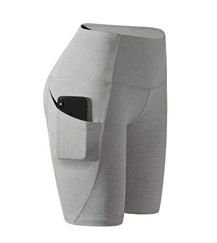 LAPASA Damen Kurz Leggings Sport Yoga Pants High Wasit mit Tasche MEHRWEG L002 (Meliert Hellgrau, S)