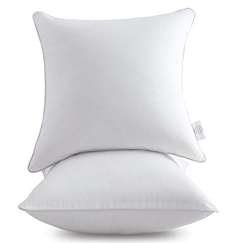 Oubonun 20 x 20 Pillow Inserts (Set of 2) - Throw Pillow Inserts with 100% Cotton Cover - 20 Inch Square Interior Sofa Pillow Inserts - Decorative Pillow Insert Pair - White Couch Pillow