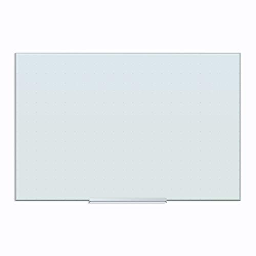 U Brands Floating Glass Ghost Grid Dry Erase Board, 23 x 35 Inches, White Frosted Non-Magnetic Surface, Frameless (2798U00-01)