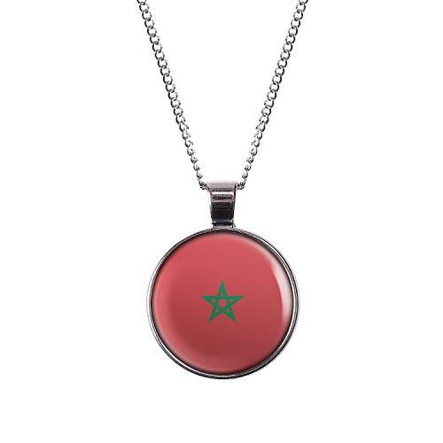 Collar con Motivo Bandera de Marruecos Marruecos Rabat Plata 28mm