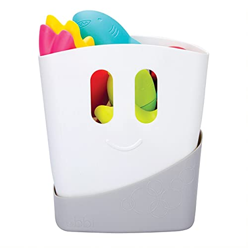 image of the Ubbi Freestanding Bath Toy Organiser with a breakdown of features and benefits
