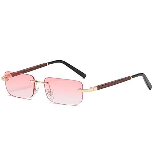 Gafas de Sol sin Montura de Madera para Mujer, Hombre, Vintage, Rectangular, de Madera, Gafas de Sol, UV400, Gafas de conducción, sin Marco, gradiente, Sombras cuadradas, Rosa