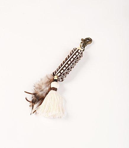 VLiving Tribal - Bolsa de borlas de tierra, hecha a mano, estilo bohemio y colgante gitano (6 pulgadas)