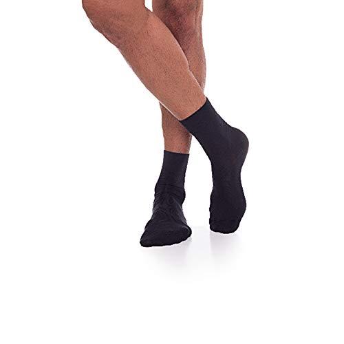 Linphelle Calcetines unisex para diabéticos, antibacterianos y antiolor, para pies sensibles, ideal para personas con artritis, versión corta, color negro, talla 3