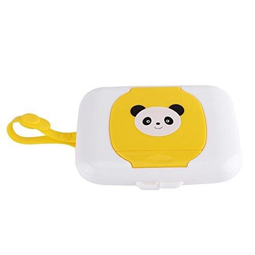 Scatola di salviettine umidificate Portable Dispenser per fazzoletti di carta igienica Infantile passeggino riutilizzabile carrozzina salviette comoda custodia in tessuto per viaggio(giallo)
