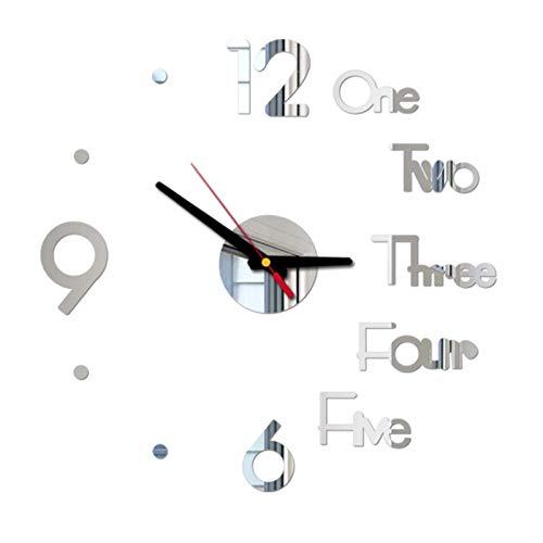 Reloj de pared, Reloj acrílico Inicio Oficina Decoración DIY Reloj de pared digital 3D Espejo Etiqueta de la superficie Silencioso Reloj de pared para dormitorio Decoración de la sala de estar