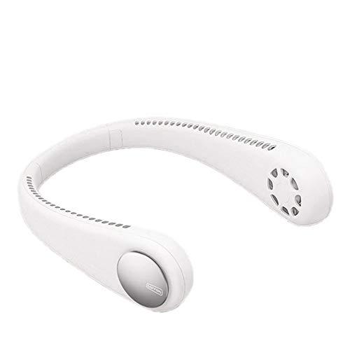 WXZQ Ventilador con Cuello Halter Deportivo Perezoso portátil Mini Ventilador de Cuello Colgante USB Cubierta Recargable Ventilador Deportivo con Cuello Halter Enfriador de Aire al Aire Libre Blanco