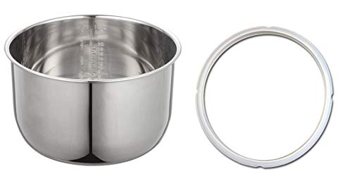 """""""2 for 1: GJS Gourmet Stainless Steel Pot Works with 8 Quart Instant Pot. Free Compatible Silicone Sealing Ring! (8 Quart, Stainless Steel)"""". The pot and ring are not created or sold by Instant pot."""
