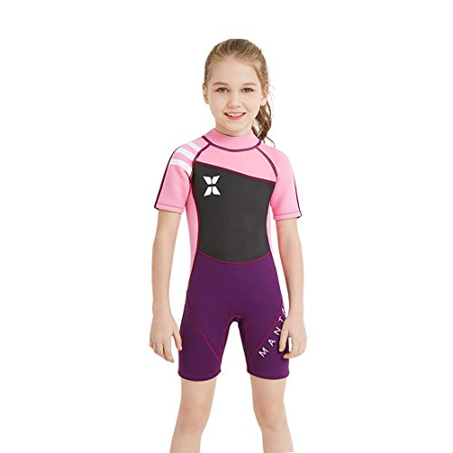 Cool&D Kinder Neoprenanzug Mädchen Schwimmanzug Badeanzug 2.5MM SCR Neopren Warmer und UV-Schutz
