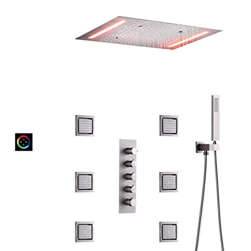 HSIYE,Baño Set,Juego de grifos de Ducha para baño, Cabezal de Ducha Tipo Lluvia Cepillado de 20 x 14 Pulgadas con Pantalla táctil LED, Sistema Combinado de Mezclador de baño, Estilo termostá