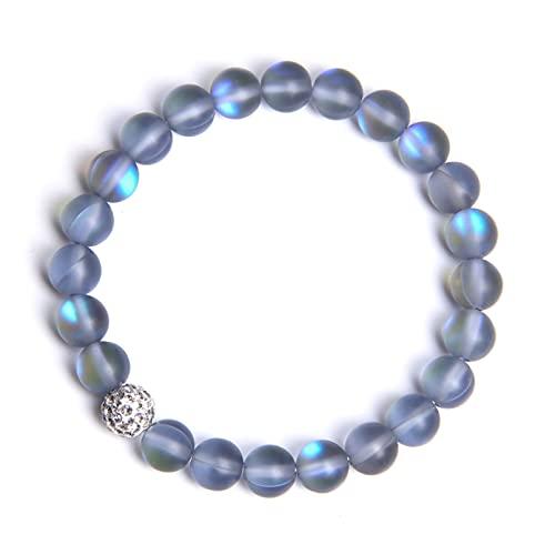 N/A Smycken armband kvinnor armband glänsande silverfärg berlock armband för män 8 mm matt månsten pärlor armband smycken tur födelsedagspresent alla hjärtans dag mors dag jul födelsedag 3