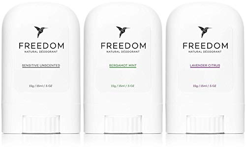 Freedom Natural Travel Deodorant Mini Stick - Aluminum Free, Non Toxic, Great for Sensitive Skin for Women & Men, EWG Verified, Cruelty Free (MIX: Mint, Lavender, Unscented)