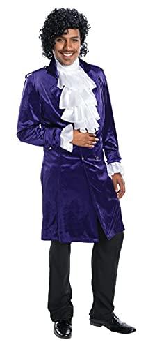 Charades Men's Purple Edwardian Jacket with White Layered Ruffle Top