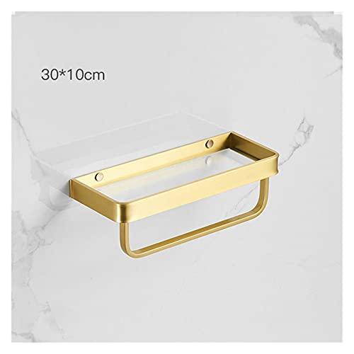 Estante de baño multifuncional de diseño de pared Adecuado para baño en el hogar Estante de baño Estante de ducha de baño con barra de toalla Estante de cristal de oro cepillado 30-5 0CM Tenedor de al