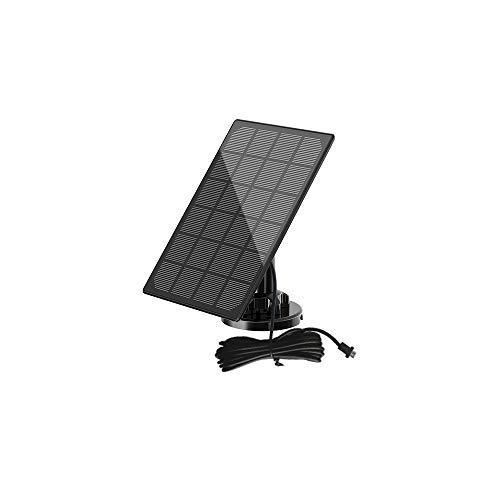 Pannello Solare Compatibile con La Videocamera di Sicurezza Esterna Wireless YIROKA, Alimentazione Continua, Impermeabile IP65, Montaggio Regolabile a 360°, con Cavo da 3 Metri (Micro-USB) (3W/5V)