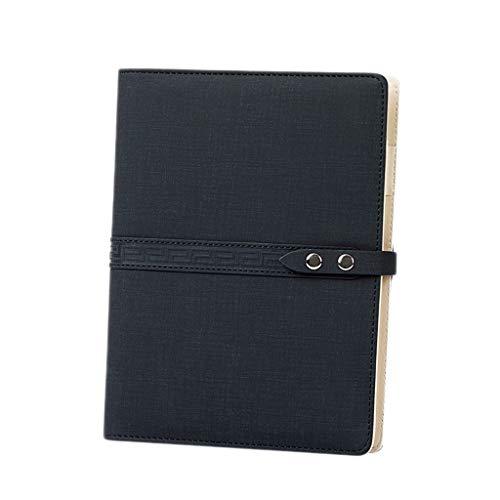 Cuaderno WDX- Espesar Simple Estudio Exquisito portátil Bloc de Notas de Office Diary grabación (Color : Black, Size : 18 * 23.3cm)