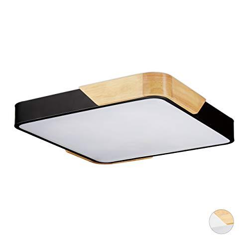 Relaxdays LED Deckenleuchte, Quadratische Deckenlampe, Holz & Metall, 36 W LED Lampe Flur, HBT 5 x 40 x 40 cm, Schwarz