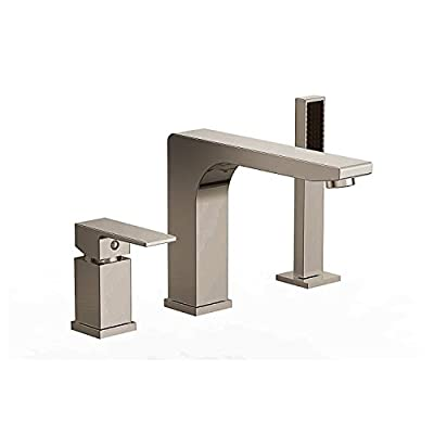 Ultra Faucets Icon Collection Roman Tub Faucet with Hand Shower, Rough-In Valve Included (Brushed Nickel)
