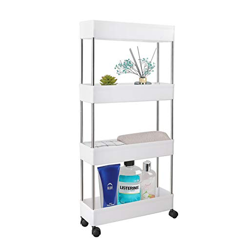 PILITO Slim Storage Cart 4 Tier Rolling Utility Cart Mobile Shelving Unit Organizer with Wheels for Bathroom Kitchen Office Laundry Narrow Places amp Dressers Plastic amp Stainless Steel White