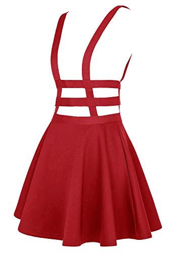 EXCHIC Falda de Cintura Elástica con Pliegues de la Moda A-Line Suspender Brace Falda (L, Rojo)