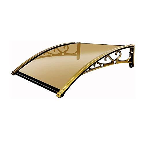 Tejadillo Toldo Cubierta, Refugio Protector de Lluvia y Nieve con Soporte de aleación de Aluminio, Cubierta Impermeable silenciosa (Color : Brown+Champagne Gold, Size : 60x100cm)