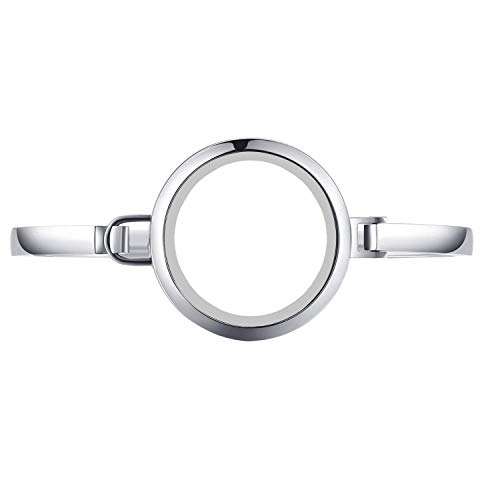 Stainless Steel Floating Locket Bangle Bracelet - 30mm Glass locket Bangle Living Floating Charm Locket Bracelet for 8'' wrist by BG247 (Silver No Stone Circle - Size 8)