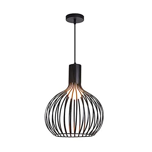 SDFDSSR Candelabro E27, Moderno Y Simple, Creativo, con Forma De Jaula De Pájaros, Lámpara Colgante De Hierro Forjado De Una Sola Cabeza, Lámpara Colgante Ajustable, Adecuada para, Dormitorio(24 Cm)