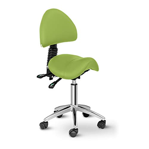 Physa Sattelstuhl mit Rollen ergonomischer Rollstuhl mit Rückenlehne Drehstuhl Arbeitsstuhl Berlin Light Green (grün, höhenverstellbar, 360°-drehbar)
